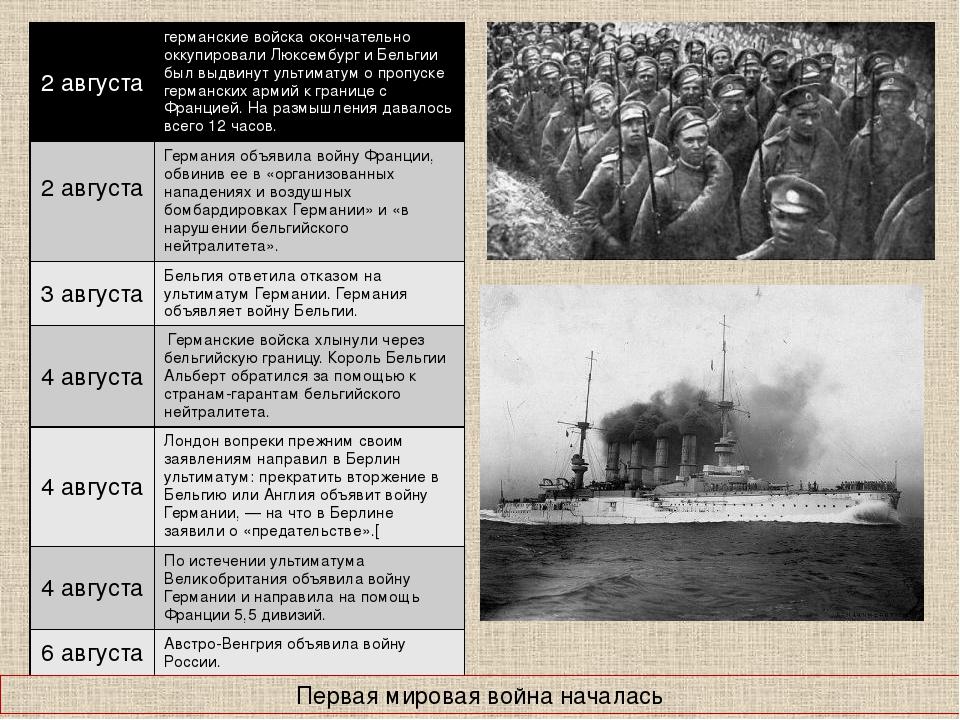 Первая мировая война началась 2 августа германские войска окончательно оккупи...