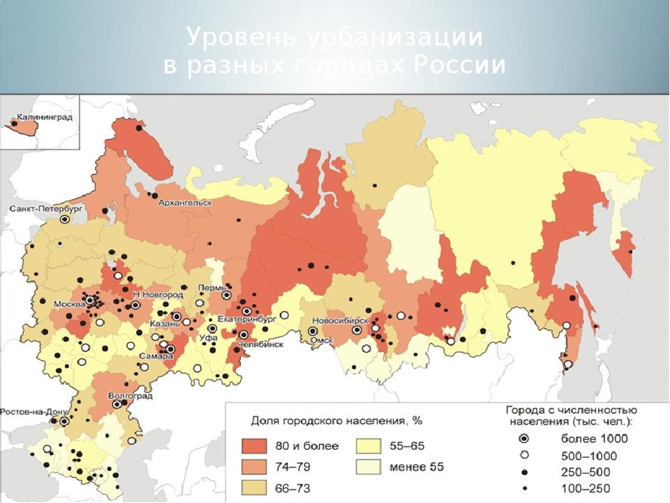 Уровень урбанизации в разных городах России