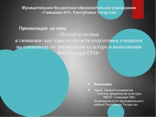 Муниципальное бюджетное образовательное учреждение «Гимназия №3» Республики Т