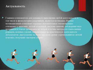 Актуальность Главным компонентом для успешного выполнения любой деятельности,