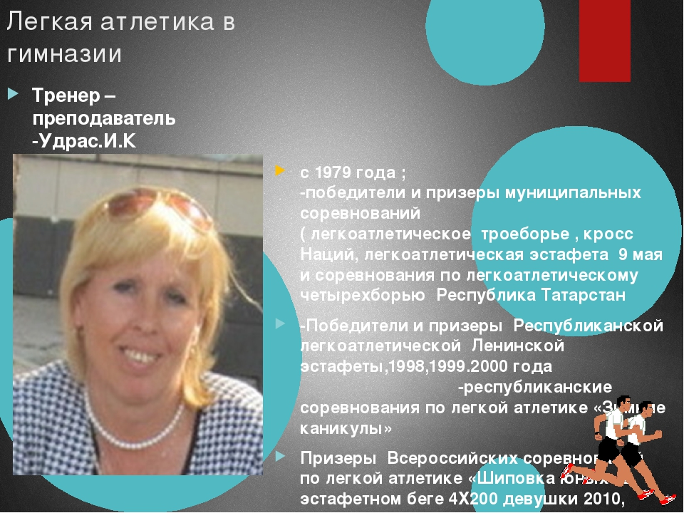 Легкая атлетика в гимназии с 1979 года ; -победители и призеры муниципальных...