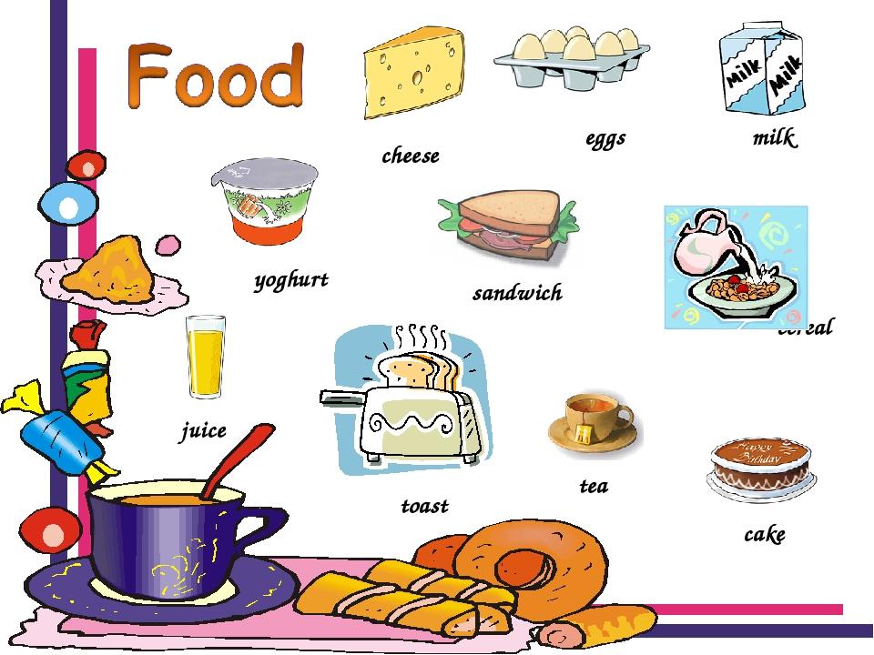 Еда картинки на английском