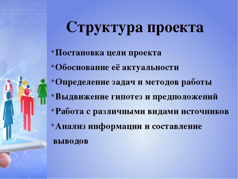 Постановка цели проекта Обоснование её актуальности Определение задач и метод...
