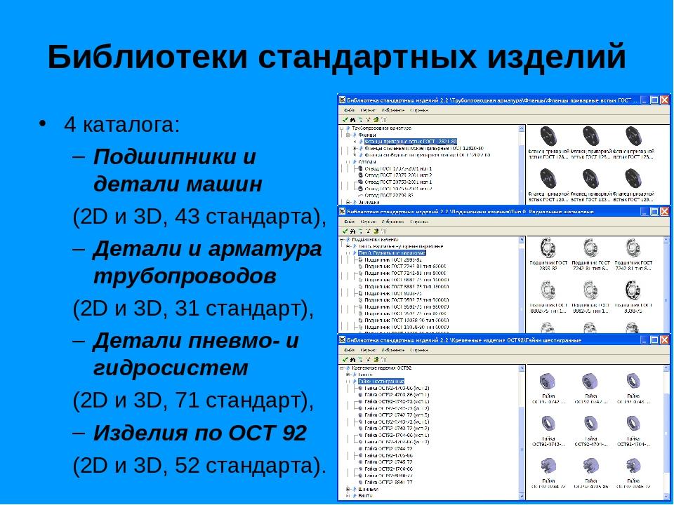 Библиотеки стандартных изделий 4 каталога: Подшипники и детали машин (2D и 3D...