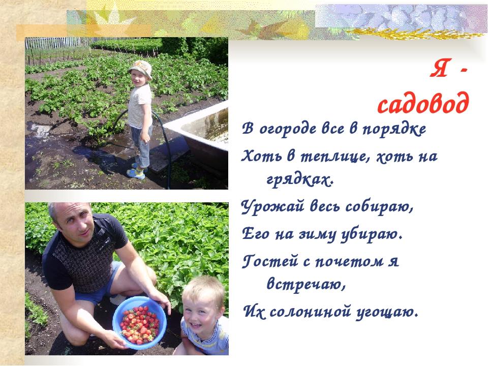 Стихи мужчине огороднику
