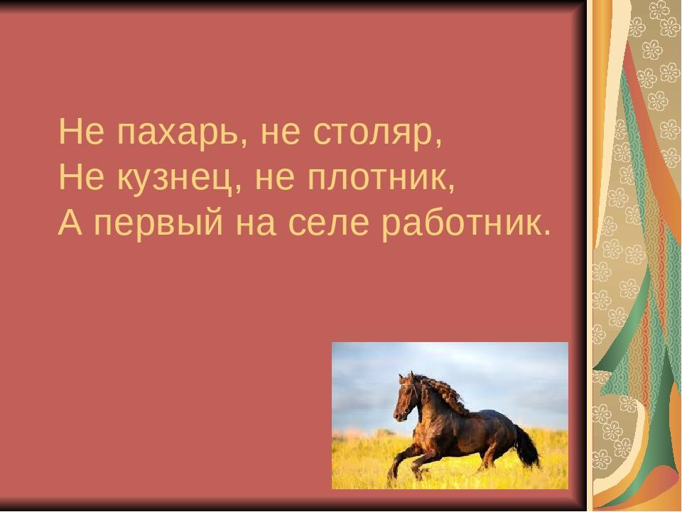 Не пахарь, не столяр, Не кузнец, не плотник, А первый на селе работник.