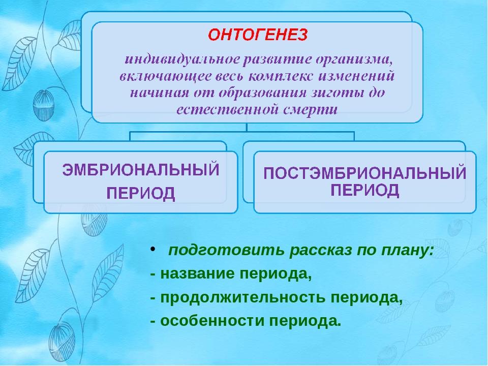 подготовить рассказ по плану: - название периода, - продолжительность периода...