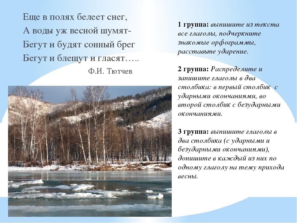 Еще в полях белеет снег, А воды уж весной шумят- Бегут и будят сонный брег Б...