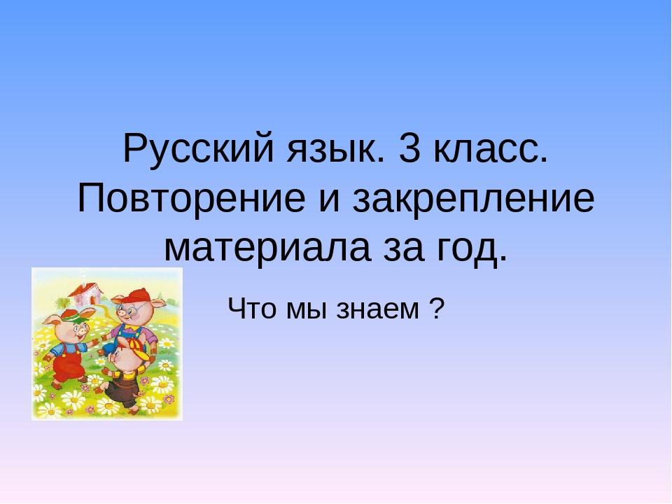 Русский язык. 3 класс. Повторение и закрепление материала за год. Что мы знае...