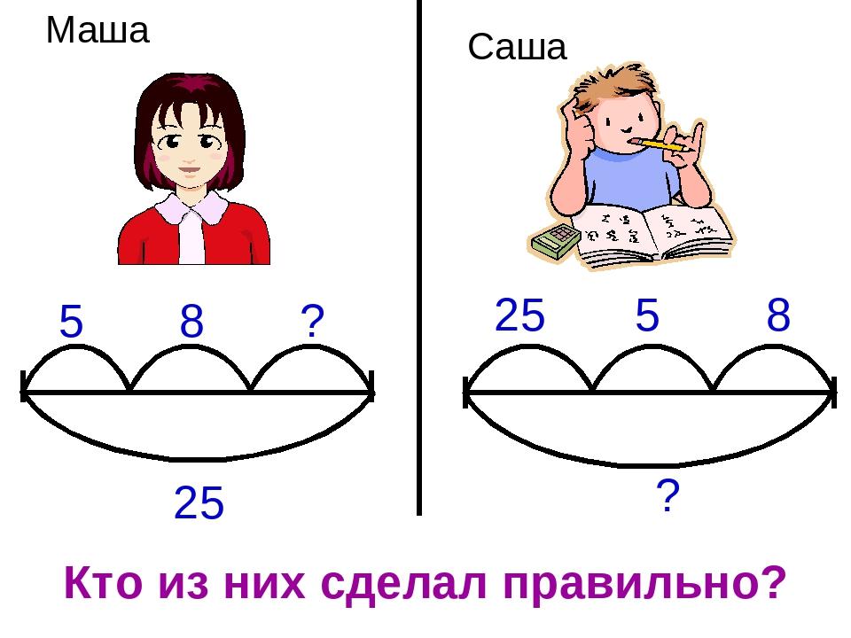 25 5 8 ? 25 5 8 ? Кто из них сделал правильно? Маша Саша