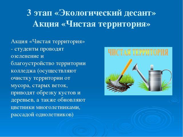 3 этап «Экологический десант» Акция «Чистая территория» Акция «Чистая террито...