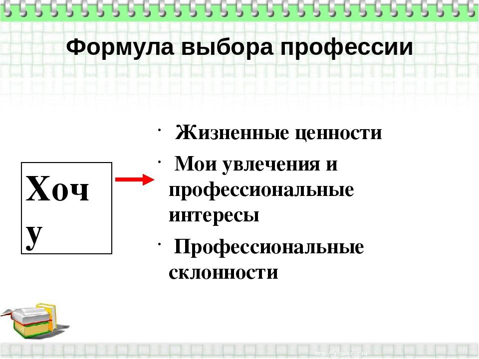 Формула выбора профессии Хочу Жизненные ценности Мои увлечения и профессионал...