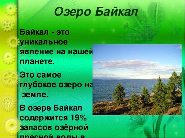 Презентация по проектной деятельности на тему Озеро Байкал  Озеро Байкал Байкал это уникальное явление на нашей планете Это самое глуб