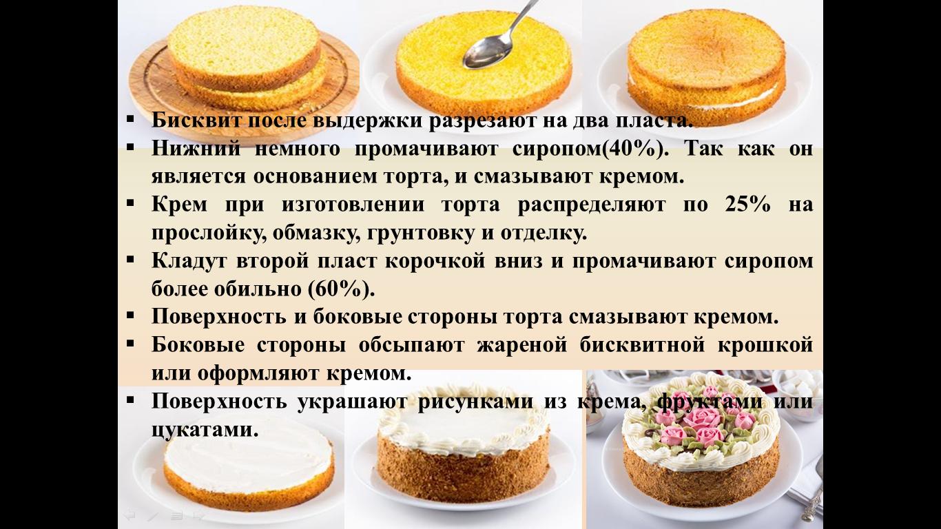 рецепт простого бисквитного торта с фото под