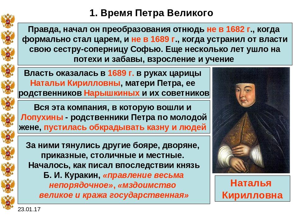Шпаргалка по истории начало царствования петра
