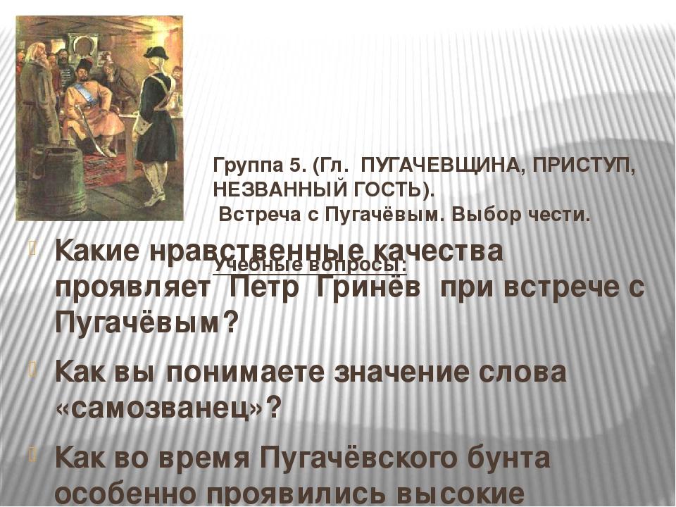 Группа 5. (Гл. ПУГАЧЕВЩИНА, ПРИСТУП, НЕЗВАННЫЙ ГОСТЬ). Встреча с Пугачёвым. В...