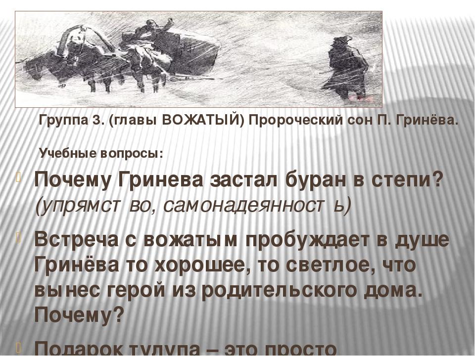 Группа 3. (главы ВОЖАТЫЙ) Пророческий сон П. Гринёва. Учебные вопросы: Почему...