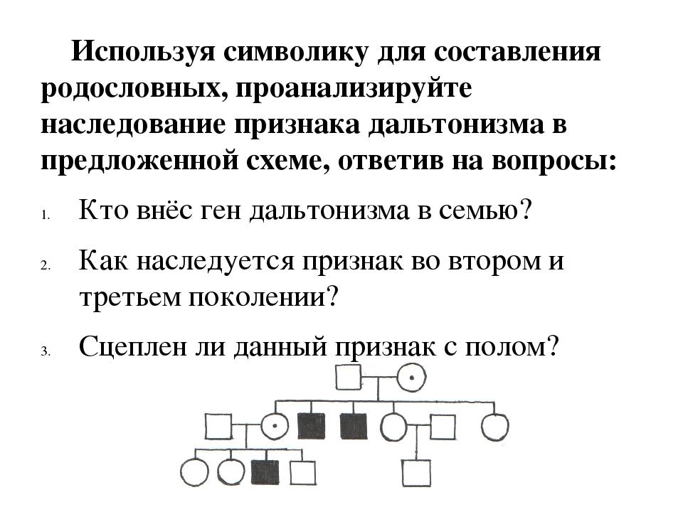 Используя символику для составления родословных, проанализируйте наследовани...