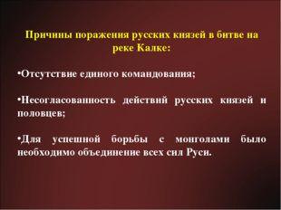 Причины поражения русских князей в битве на реке Калке: Отсутствие единого ко
