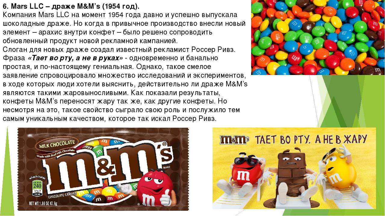 6. Mars LLC – драже M&M's (1954 год). Компания Mars LLC на момент 1954 года д...