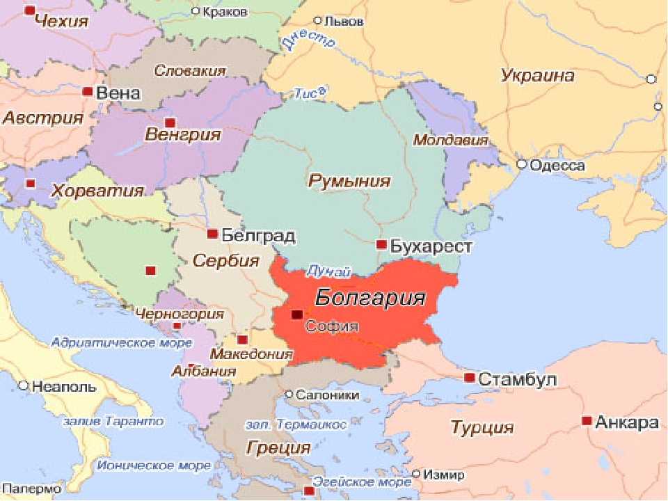 Где находится болгария на карте