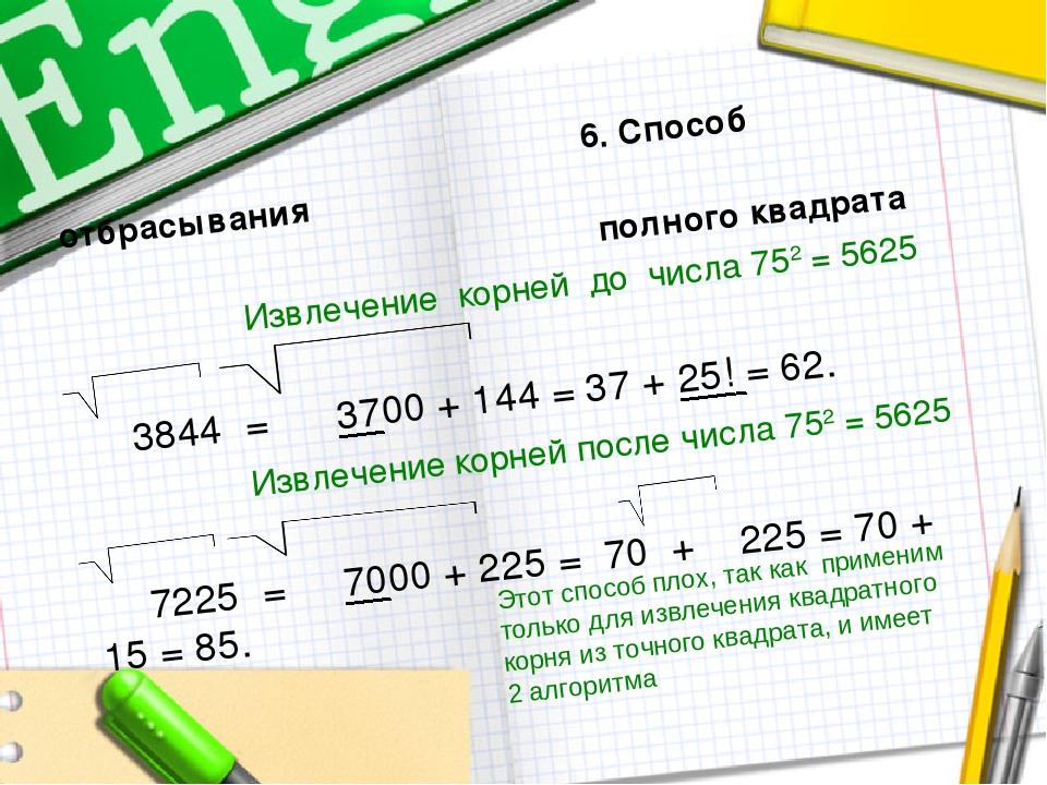 6. Способ отбрасывания полного квадрата Извлечение корней до числа 752 = 562...