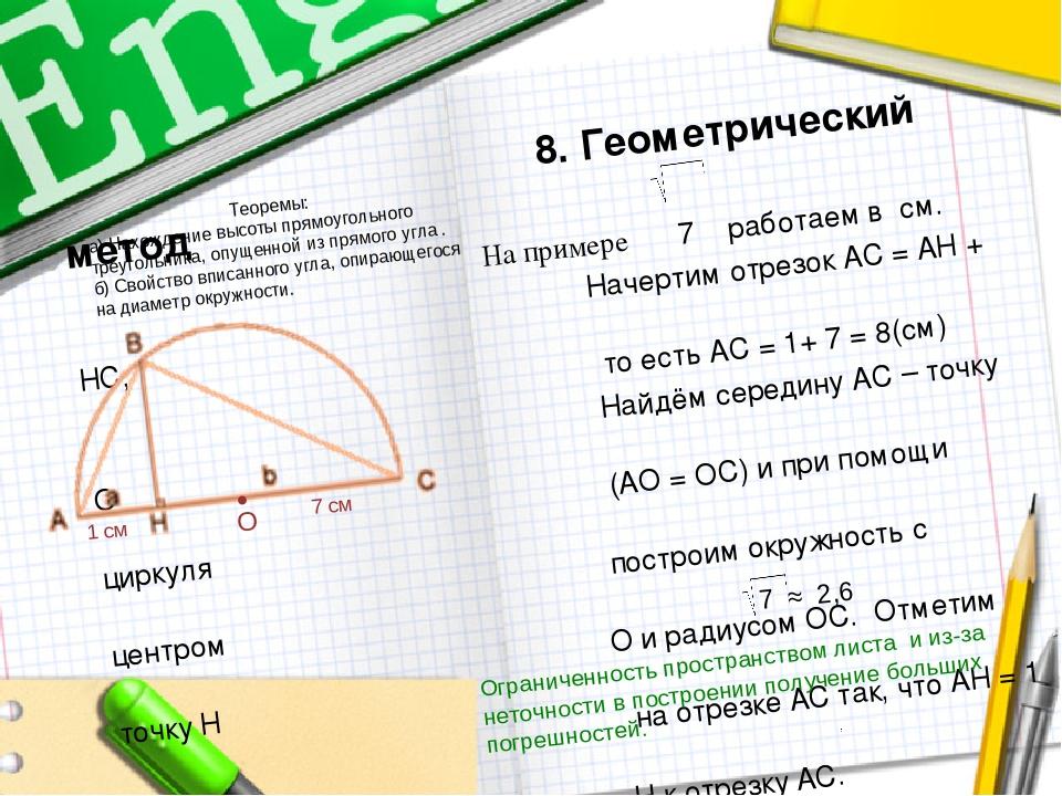 8. Геометрический метод На примере 7 работаем в см. Начертим отрезок АС = АН...