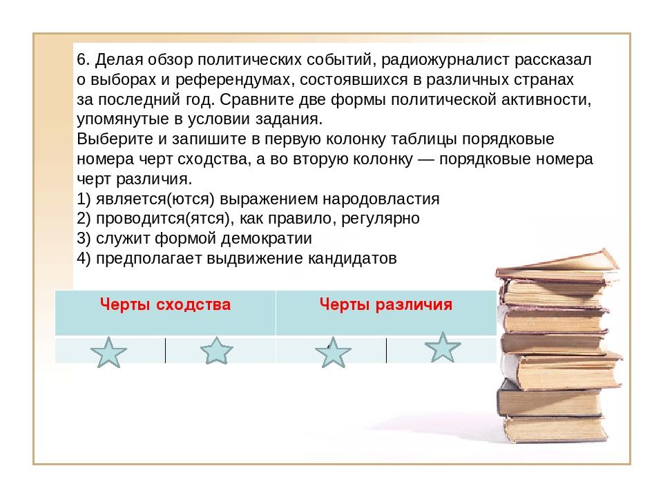 6. Делая обзор политических событий, радиожурналист рассказал о выборах и реф...