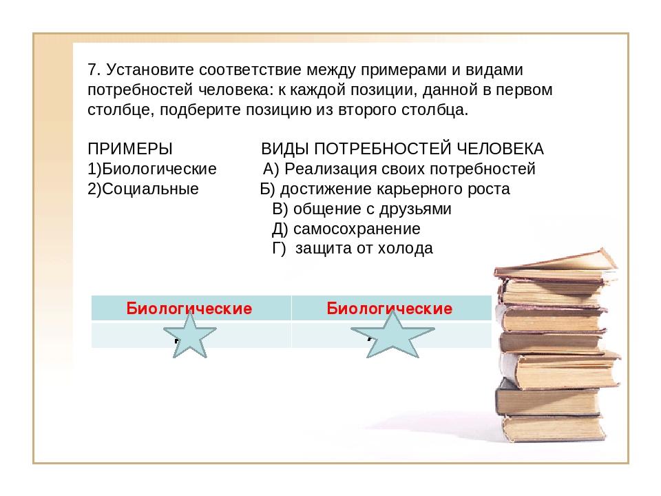 7. Установите соответствие между примерами и видами потребностей человека: к...