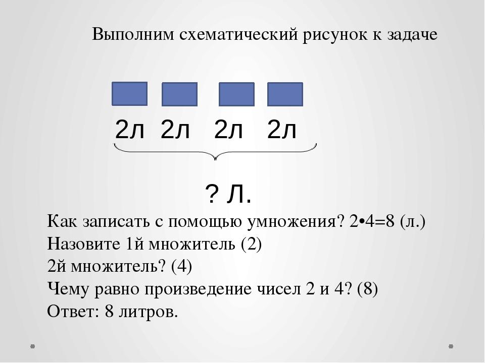 Выполним схематический рисунок к задаче 2л 2л 2л 2л ? Л. Как записать с пом...