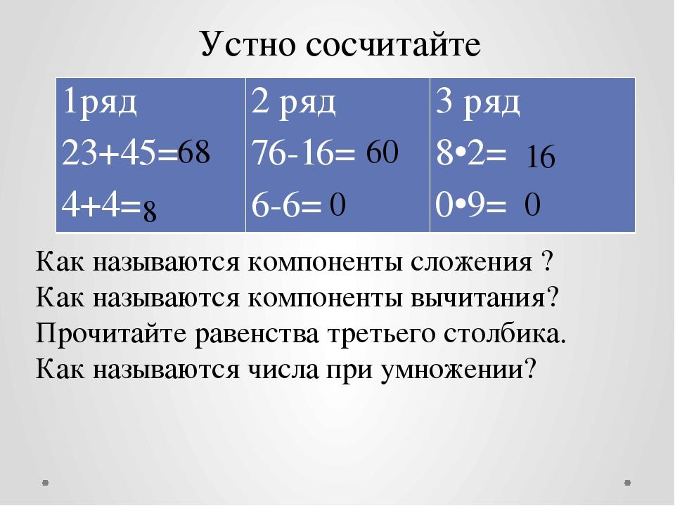 Устно сосчитайте Как называются компоненты сложения ? Как называются компонен...