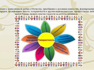 Цель: Воспитания у дошкольников любви к Отечеству, приобщение к духовным цен