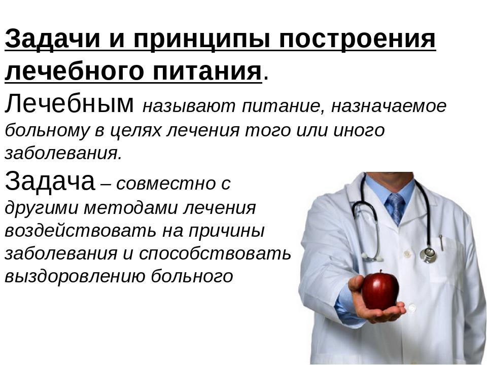Задачи и принципы построения лечебного питания. Лечебным называют питание, на...