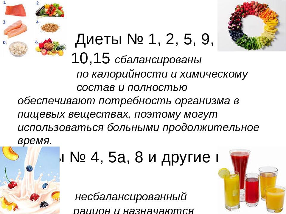 Диеты № 1, 2, 5, 9, 10,15 сбалансированы по калорийности и химическому соста...