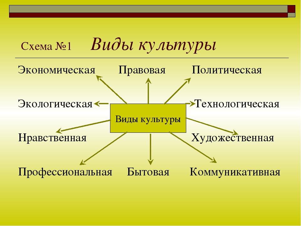 Схема №1 Виды культуры Экономическая Правовая Политическая Экологическая Тех...