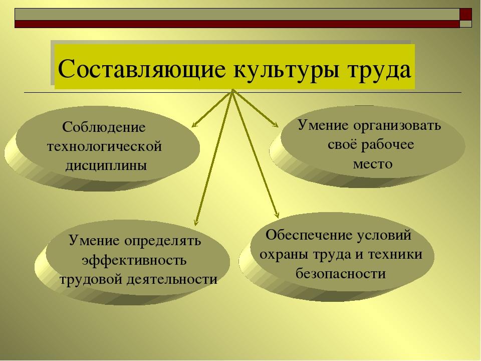 Составляющие культуры труда Соблюдение технологической дисциплины Умение орг...