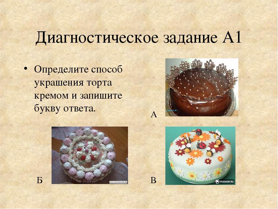 Диагностическое задание А1 Определите способ украшения торта кремом и запишит...