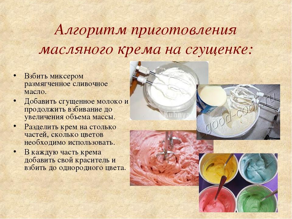 Алгоритм приготовления масляного крема на сгущенке: Взбить миксером размягчен...