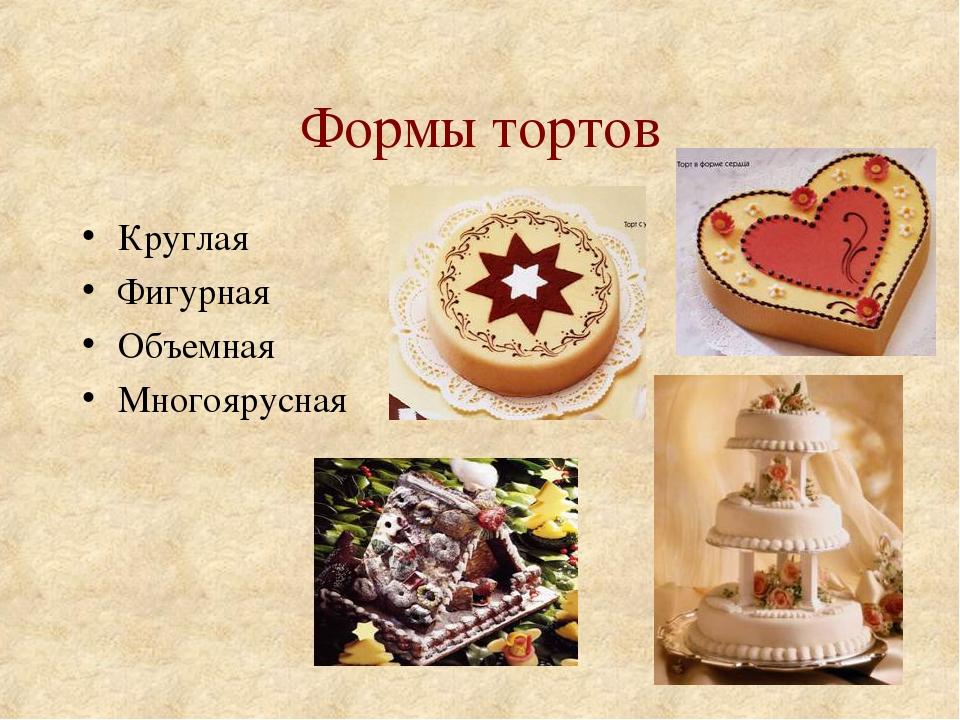 Формы тортов Круглая Фигурная Объемная Многоярусная
