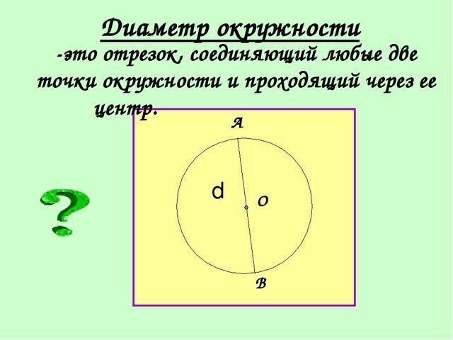 Диаметр окружности -это отрезок, соединяющий любые две точки окружности и пр...