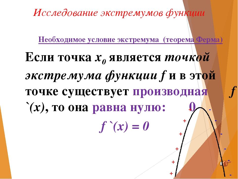Исследование экстремумов функции Необходимое условие экстремума (теорема Ферм...