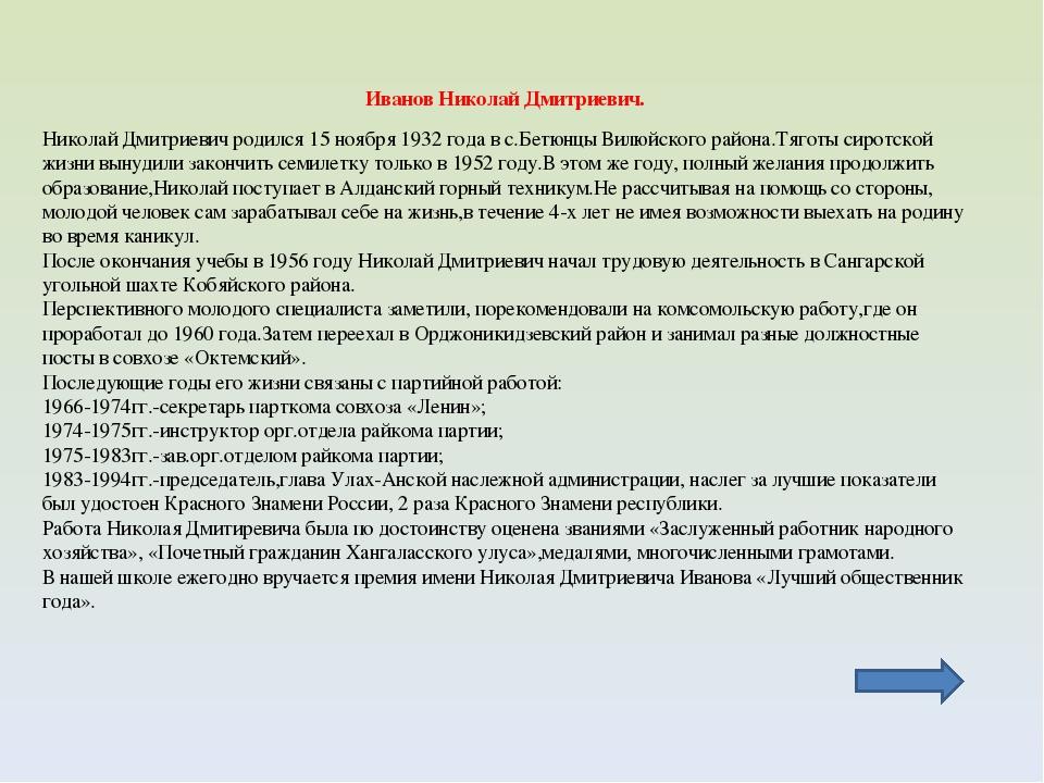 Иванов Николай Дмитриевич. Николай Дмитриевич родился 15 ноября 1932 года в с...