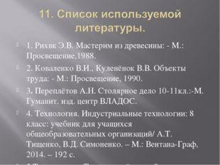 1. Рихвк Э.В. Мастерим из древесины: - М.: Просвещение,1988. 2. Коваленко В.И