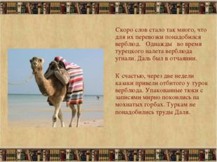 * Скоро слов стало так много, что для их перевозки понадобился верблюд. Однаж