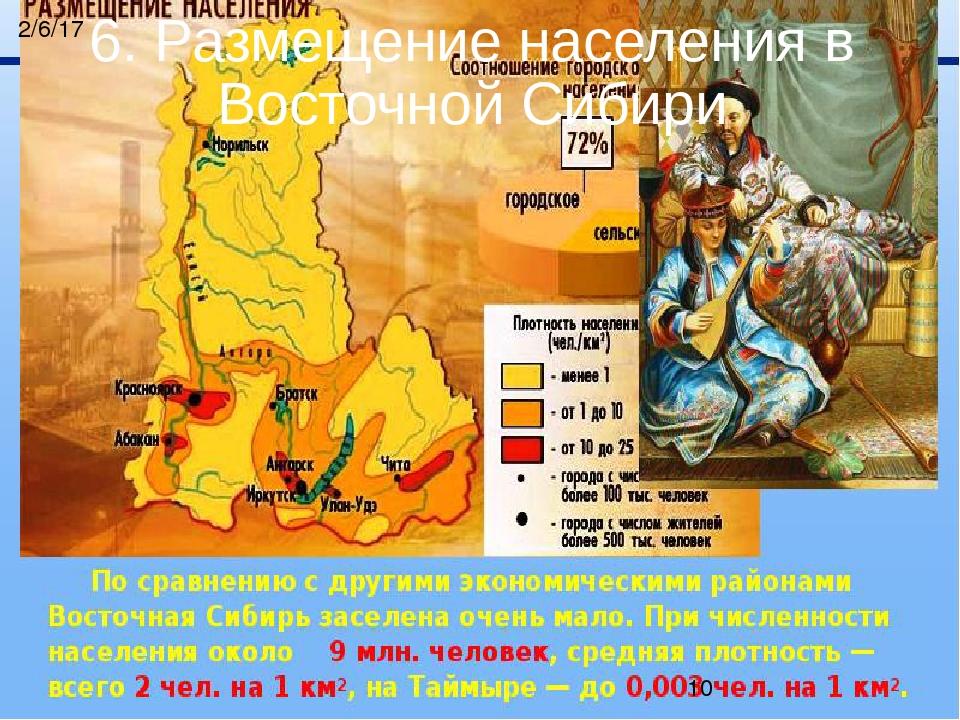 6. Размещение населения в Восточной Сибири