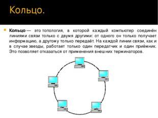 Кольцо. Кольцо́— этотопология, в которой каждый компьютер соединён линиями