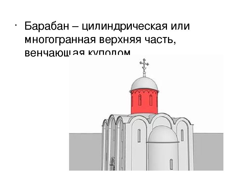 Барабан – цилиндрическая или многогранная верхняя часть, венчающая куполом