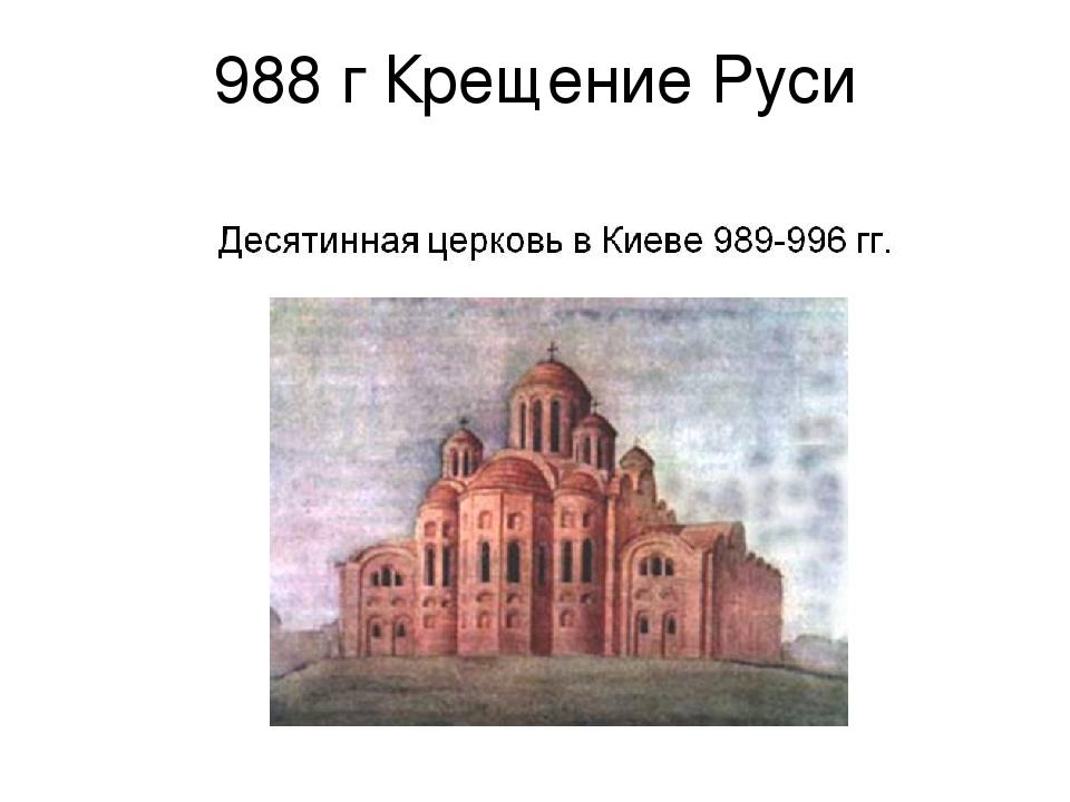 988 г Крещение Руси