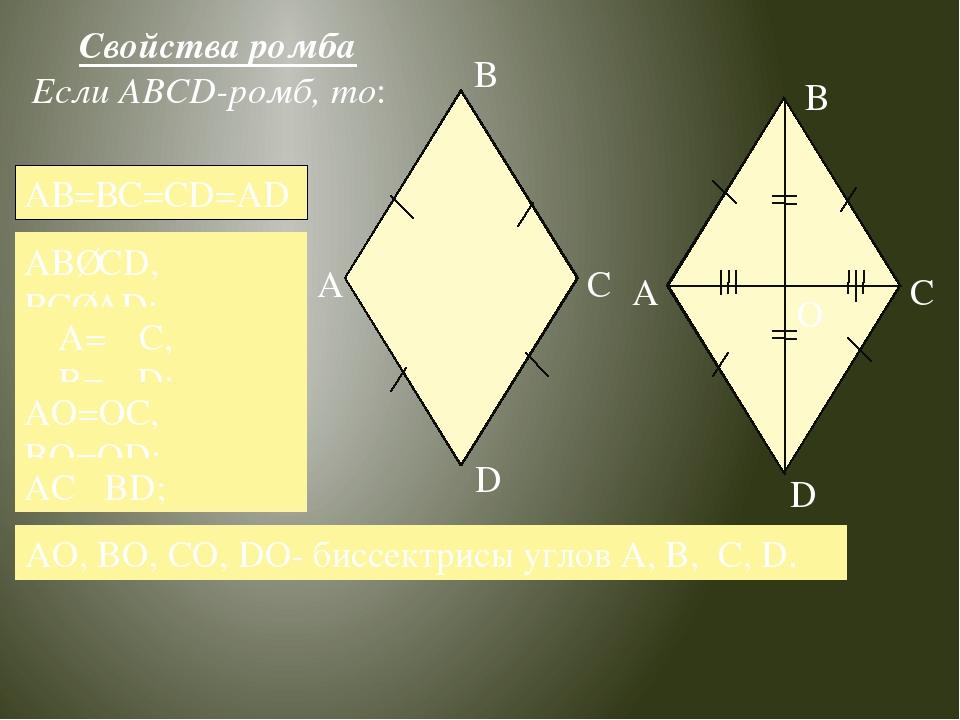 Свойства ромба Если ABCD-ромб, то: AO, BO, CO, DO- биссектрисы углов A, B, C,...