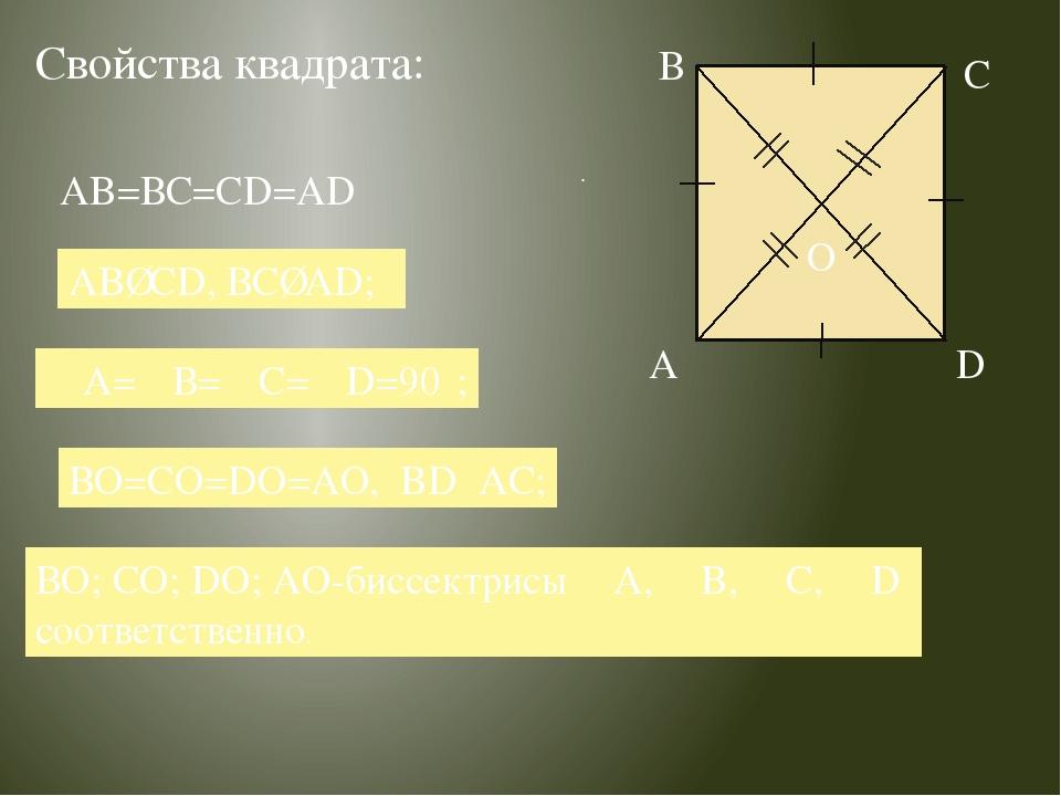 Свойства квадрата: . . AB∥CD, ВС∥AD; ∠А=∠В=∠С=∠D=90⁰; ВО=СО=DO=AO, BD⏊AC; ВО;...